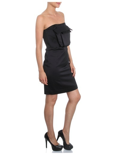 Beymen Studio Straplez Abiye Elbise Siyah